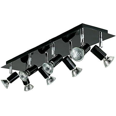 Large Modern Rectangular Gloss Black Plate 8 Way Adjustable Ceiling Spotlight