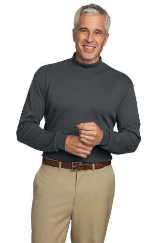 Port Authority® Interlock Knit Mock Turtleneck. K321 Steel Grey L - Mock Rollkragenpullover