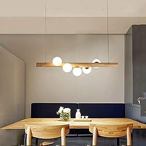 ZMH Pendelleuchte aus Holz rustikal esstisch Hängelampe Hängeleuchte Kugel aus Glas Pendellampe mit G9 Leuchtmittel Retro Deckenleuchte für Esszimmer (5-flammig)