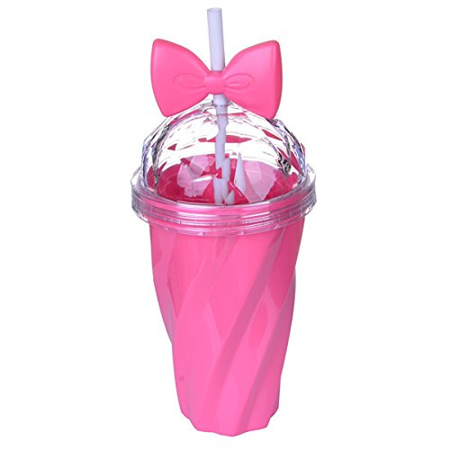 artbro Exquisite Cover aus Kunststoff Tasse mit Schleife Stroh Home Office Kaffee trinken Prägung Tasse Kids Mädchen Baby Sippy Trainer Cup (Stroh Kinder-kunststoff-becher Mit)