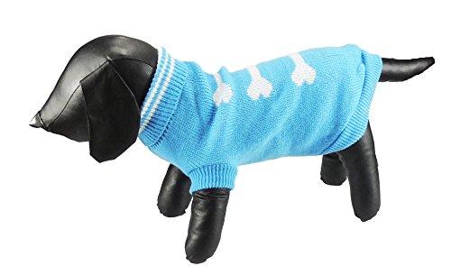 Roll Hals Jumper (Liebenswürdig, Tee Tasse/Spielzeug Hunde verworrenen Knit Blau & Weiß Knochen Detail Roll Hals Jumper, in 5Größen erhältlich)