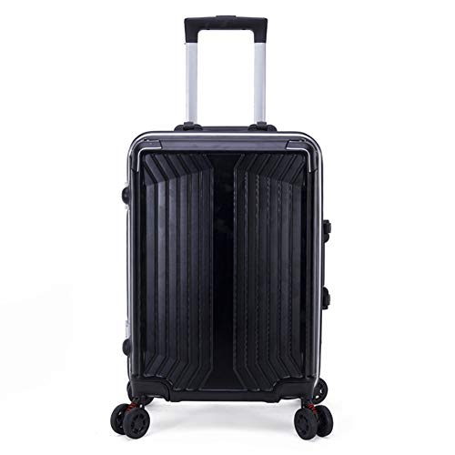 Gepäck Mode Koffer PC ABS 360 ° Spinner Carry auf einfache Reise-Trolley Handgepäck Studentengepäck,Schwarz,24