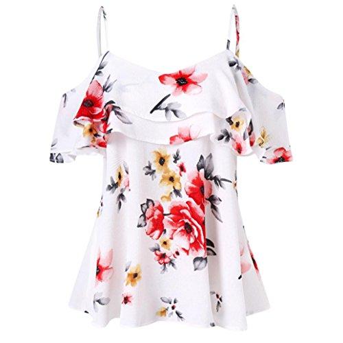 JUTOO Frauen Schulter Shirt Sleeveless Weste Tank Tops Bluse(Weiß,EU:46/CN:2XL)