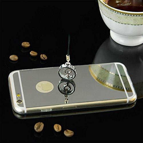 EGO® Luxus TPU Silikon Spiegel Schutz Hülle Back Case für iPhone 6 Plus / 6s Plus gold Handy Cover mit Glanz Mirror spiegelnd, dünn und elastisch Silber