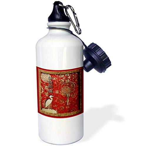 qidushop Kran-Laterne Happy Chinese New Year in Chinese White Sports Water Bottle Stainless Steel Insulator Cup Biking Camping 21oz