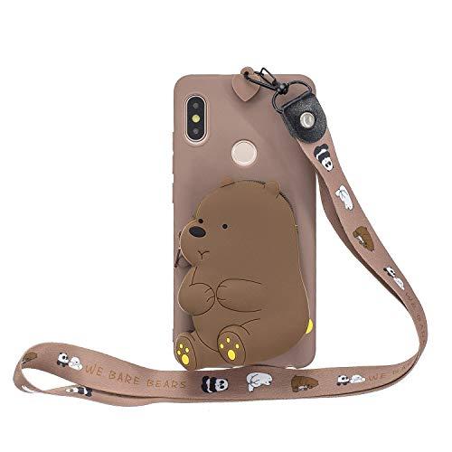 Ulife Mall Funda Cartera para Xiaomi Redmi Note 5 / Note 5 Pro Carcasa Silicona Suave Ultra Fina Caja de Teléfono Billetera TPU Goma Resistente Antigolpes Caso con Mini Monedero y Cordón, Oso/Marrón