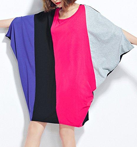 ELLAZHU Damen Midi Mode Saum Einfarbig Übergröße T-shirt GA200 GA860 Pink