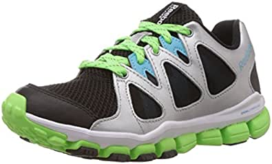 Reebok Boy's Realflex Transition 5.0 Black, Silver, Blue, Green and White Mesh Sneakers - 3C UK