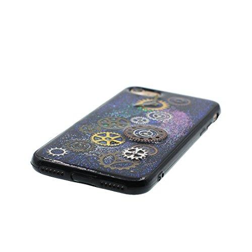 iPhone 6S Plus Custodia, iPhone 6 Plus Copertura, Bling liquido fluido trasparente in silicone durevole Cartoon Cover - stelle Bling - ( Case Per iPhone 6s Plus /6 Plus 5.5 ) Marrone Nero 3