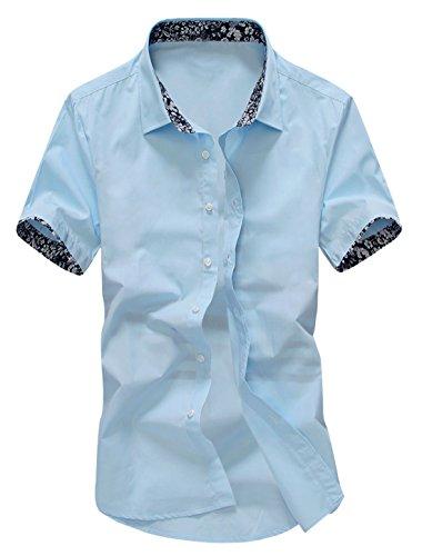 sourcingmap Uomo Manica Corta A punta Colletto Colletto Con Bottoni Slim Fit Camicia Casual Azzurro Cielo