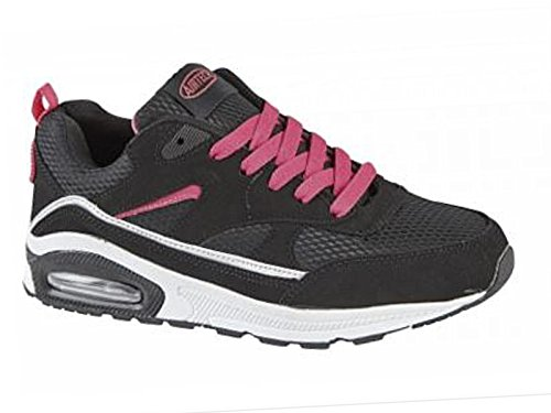 Ladies Running Trainers Air Tech Shock Absorbing Fitness Gym Sports Shoes Black/pink 5 UK / 38 EU