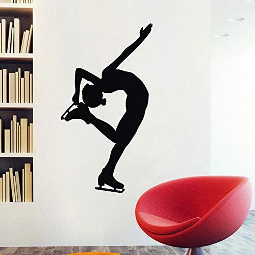 Bomdow Eiskunstlauf Silhouette Wandaufkleber Mädchen Eisläufer Tanz Wohnkultur Wandtattoos Vinyl Kunst Sticker44X81 Cm (Mädchen Silhouette Charme)