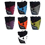 Psychi Premium Chalk Bag for Bouldering Rock Climbing with Rear Zip Pocket and Waist Belt