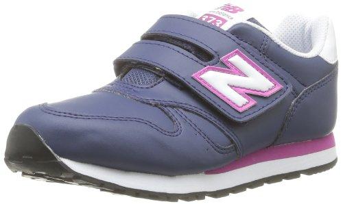 NEW BALANCE - Chaussure de sport violette en cuir et tissu, avec velcro, logo latéral et à l'arrière, coutures visibles et semelle en caoutchouc, fille, filles-30