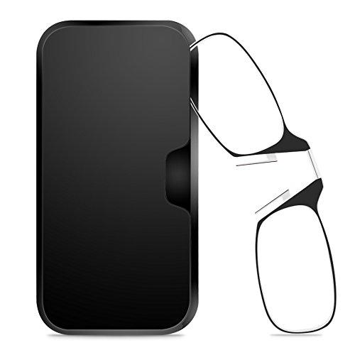 Unisex Zwicker Lesebrille [RETRO SPECS] Mini Brille Ohne Bügel für Damen und Herren, Schwarz Dioptrien Stärke +2,5 mit Brillenetui Hardcase