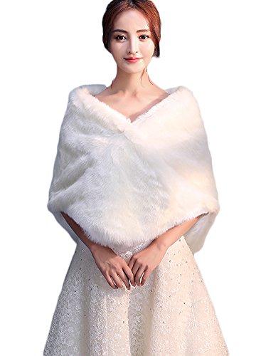 Icegrey donna coprispalle scialle stola de sposa giacca in pelliccia sintetica bolerino stola per feste matrimoni bianco avorio