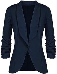 chuangminghangqi Donna Giacca Blazer Elegante Casual Cardigan per Ufficio -  Manica 3 4 a Piega d2ee4d4ad0f