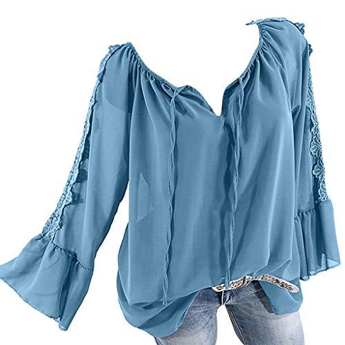 U-ausschnitt Cap-sleeve Top (TOPSELD Top Damen, Frauen Weg Schulter Verband Spitze Chiffon Lange ÄRmel Plus Size Leicht Tops Bluse)