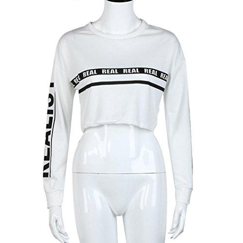 Sunnywill Lange Ärmel Mode weiße Buchstaben drucken Ernte Sweatshirt Top Bluse für Mädchen Damen Weiß