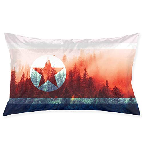 Rghkjlp North Korea Flag with Forest Kopfkissenbezüge Decorative Pillow Covers Soft and Cozy, Standard Size 20