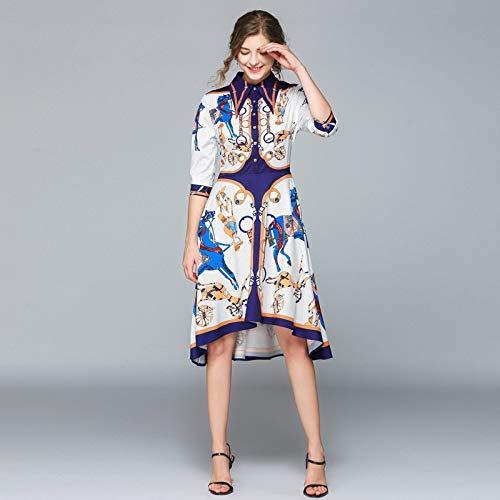 QUNLIANYI Abendkleid Kleid Runway Kleid Frauen Kleid Weibliche Revers Kragen Halbärmel Shift Kleid Unregelmäßige Midi Shirt Kleid L (Perlen Shift-kleid)