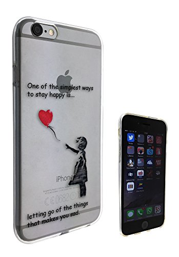 c0066 - Banksy Graffiti Art Ballon Girl Funky Design Iphone 5/5s Citation Fashion Trend Coque gel en caoutchouc pour coque de protection en silicone transparent