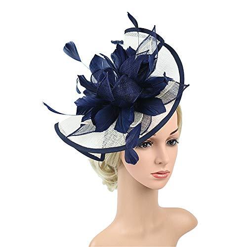 AM-women's hat Mode Hanf Hut Handmade Stirnband Gaze Mesh Cocktail Hut Party Mädchen Frauen Fascinator Haarband Komfort (Farbe : Blau, Größe : Free Size)