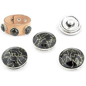 Chunk Druckknopf Easy Button Schwarz mit Silber durchzogen kompatibel