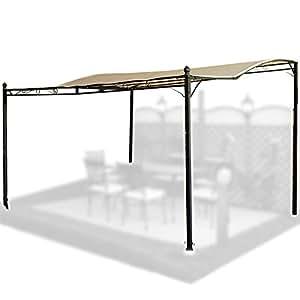 garten berdachung vordach aus stahl und wei em stoff f r terrasse balkon veranda. Black Bedroom Furniture Sets. Home Design Ideas
