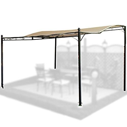 Gartenüberdachung / Vordach, aus Stahl und weißem Stoff, für Terrasse / Balkon / Veranda
