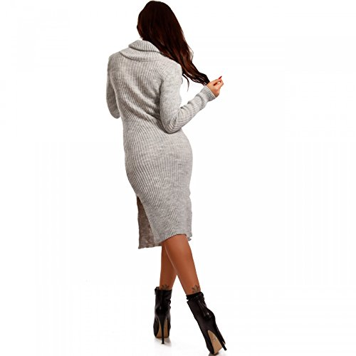 Made Italy - Robe - Crayon - Uni - Manches Longues - Femme Gris