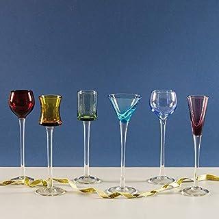 7 Piece Long Stem Liqueur Set | Artland Jewel Tone Cordial Set, Liqueur Glasses, Apertif Glasses, Digestif Glasses