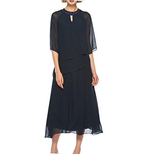 (Perlen langen Ärmeln Juwel Mutter der Braut Kleid Tee-Länge Kleid für Frauen)