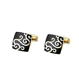 Yoursfs Herren Fashion Klage / Hemd-Manschettenknöpfe 18K Gold überzogene Stahlschwarz Muster Quadrat-Manschettenknöpfe
