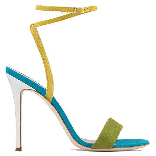 Donna Sexy Caviglia Cinghia Sbirciare Dito del piede Stiletto alto Tacco sandali Sillabare Colore Le signore Scarpe Festa Vestito Discoteca 1