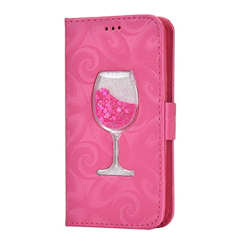 Galaxy S5 Mini Cuir Housse Rose,Portefeuille Etui pour Samsung S5 Mini,Huphant Simple Book Style Cover Pochette Folio Flip Wallet Coque de Protection Premium PU Cuir Etui Verre Vin Motif Liquid Design Or Rose