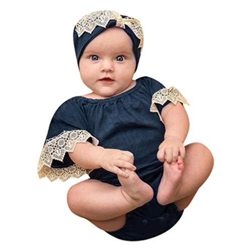 (Mitlfuny Damen Vintage Rockabilly Swing Kleider,Säuglingsbaby-Mädchen-Kurze Hülsen-Spitze-Fester Druck-Spielanzug-Bodysuit-Kleidung)