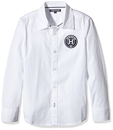 Tommy-Hilfiger-Solid-Poplin-Slimfit-Badge-Shirt-LS-Camisa-para-Nios