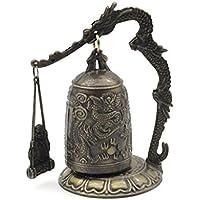 HermosaUKnight Dragon Bell Colgar Decoración Budista Bell Buena Suerte Campana Bronce Cerradura Monk-Golden