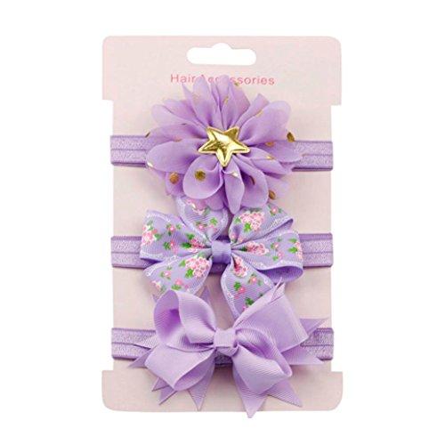 erthome Baby Haarnadel, Kinder elastisches Blumen Stirnband Haar Mädchen Baby Bowknot Haarband Set 3Pcs (Violett)