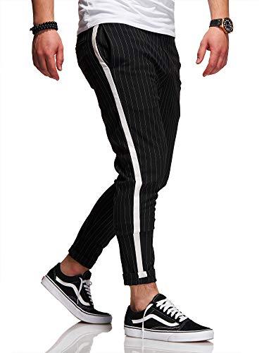 behype. Herren Chino-Hose Nadelstreifen-Hose Side-Stripe Anzugs-Hose 80-0130 Schwarz W32 -