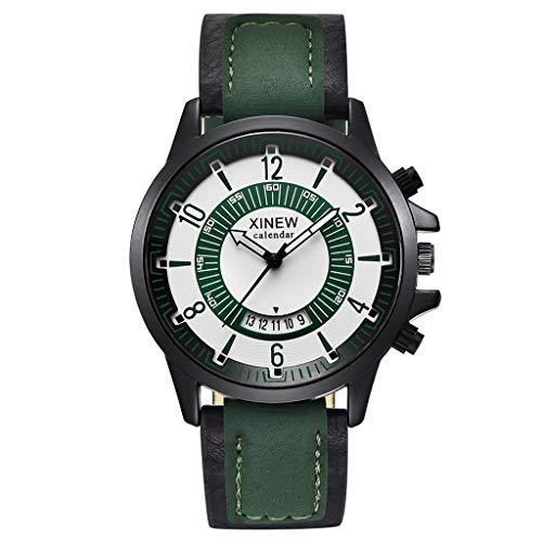 Räumung Uhr FGHYH Männer Armbanduhr Vintage Quartz Watch Men Watches Top Brand Luxury Male Clock Business Mens Wrist Watch Armbanduhr Uhr(Grün)