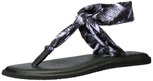 Sanuk Yoga Sling Ella Toile Sandale Black Hazy Palms