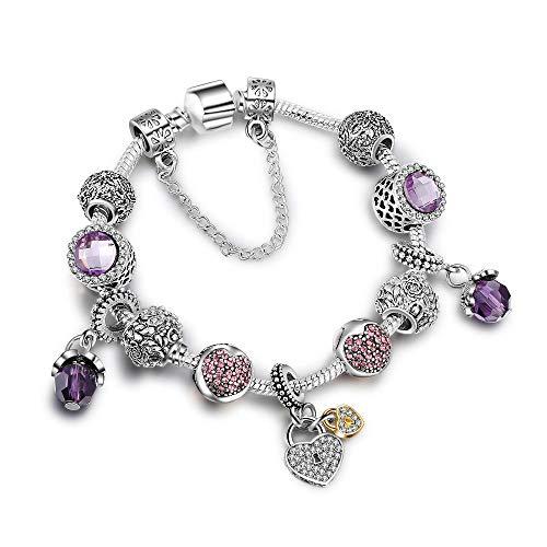 AQGELSL Valentine's Day Gifts Princess Luminous Glass Beads Creative DIY Alloy Beaded Women's Bracelet@Love Purple 17cm