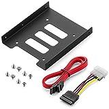 """deleyCON Kit di Montaggio per il Montaggio di HDD o SSD da 2,5"""" su Alloggiamento da 3,5"""" Viti Incluse con Cavo SATA e Alimentatore"""