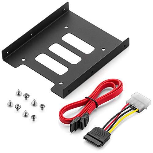 """deleyCON Cadre de Montage pour Disques Durs 2,5"""" SSD sur 3,5"""" Adaptateur Caddies Cadre de Montage Soutien Rails avec vis Câble SATA et Adaptateur Secteur"""