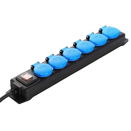 as - Schwabe 6-fach Verteilersteckdosenleiste - Outdoor-Mehrfachstecker mit 1,5 m Leitung - Mehrfach-steckdose 230 V / 16 A Klappdeckel, Schalter & Wandbefestigung - IP44 - Schwarz I 38606