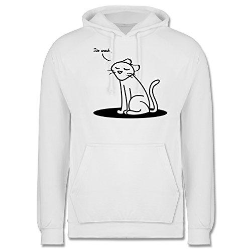 Sprüche - Bin wach... Katze - Männer Premium Kapuzenpullover / Hoodie Weiß