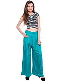 CAY® Aqua Color Solid Stylish Plazzo With Elastic Waist And Western Wear ( SIZE : FREE SIZE )