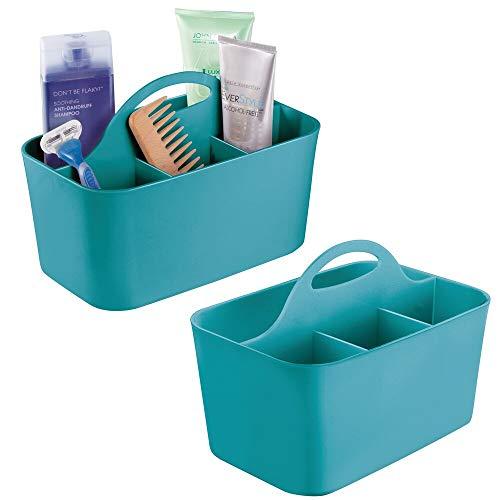 mDesign 2er-Set Badezimmer Korb mit Griff - als Kosmetik Organizer, Küchen Aufbewahrungsbox oder Handtuchhalter - kleine Bad Box aus robustem Kunststoff - türkis
